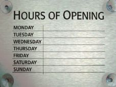 Silver Opening Hours Sign